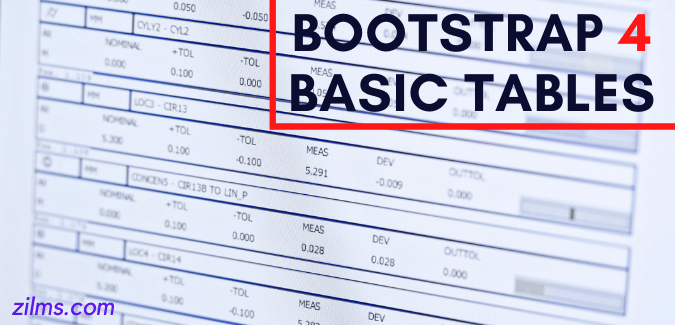 BOOTSTRAP 4 Basic Tables